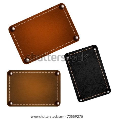 Set of leather labels. Vector eps10 illustration