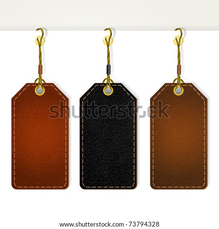 Set of leather price tags. Vector eps10 illustration