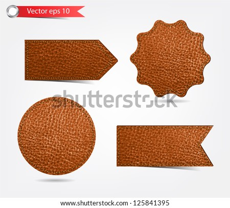 Set of leather tag labels. Vector eps10 illustration