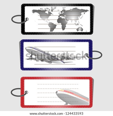 Set of Leather Tags, Airplane Illustration, Vector Illustration