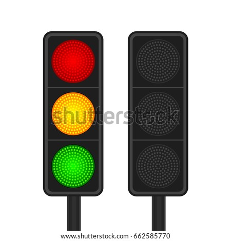 Set of LED traffic lights with red, yellow and green lamps on