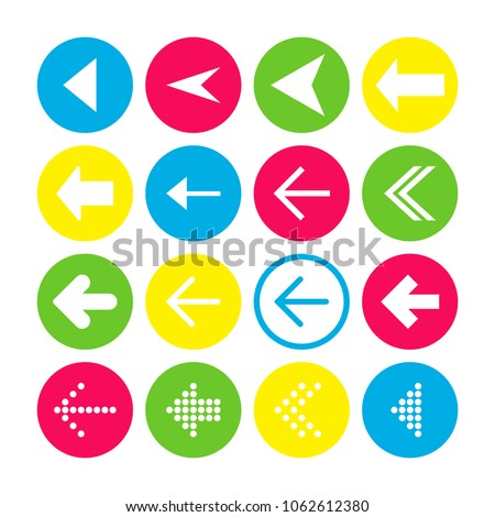 Set of 16 left arrow icons. Arrow buttons on white background in crimson, blue, yellow and transparent circles for web-design, applications and other. Vector illustration, EPS10. #1062612380