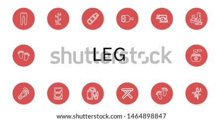 Set of leg icons such as Leggings, Coat stand, Spinal board, Ham, Steak, Foot, Reflexology, Chicken breast, Pedal, Stool, Footprint, Ballet, Feet, Wax , leg