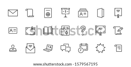 Set of Legal Documents Related Vector Line Icons. Contains such Icon as Visa, Contract, Declaration, License, Permission, Grant and more. Editable Stroke. 32x32 Pixel Perfect