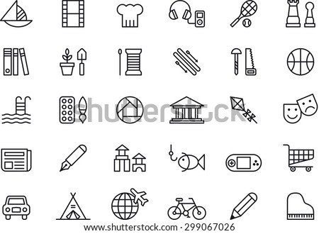 Set of LEISURE outlined icons