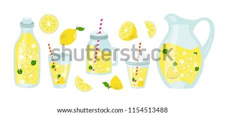 Set of lemonade elements, lemon, ice, straw. Slice lemon, whole, half. Glass, pitcher, jar, jug, bottle. Vector element of smoothie lemonade fresh juice detox in flat cartoon style Vector illustration