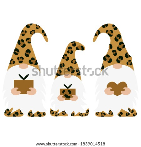 set of leopard christmas gnomes