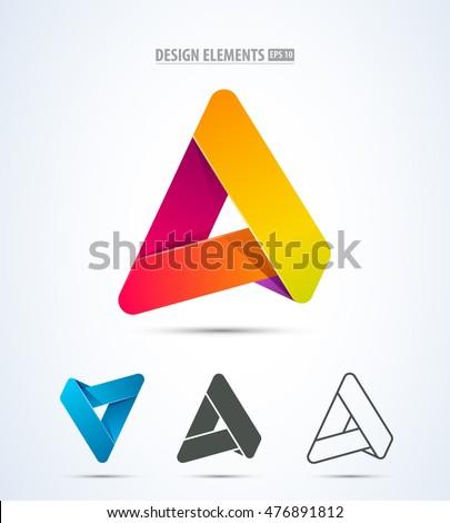 set of letter a stripe logo