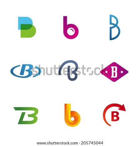 set of letter b logo icons design template elements. Black Bedroom Furniture Sets. Home Design Ideas