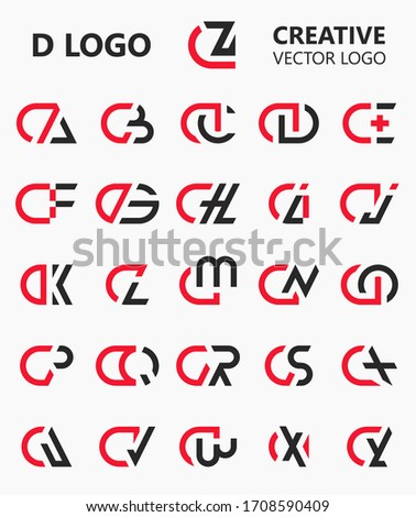Set of Letter DA to DZ capital logo icon design template elements. Modern line logo with black red flat style. Can be used for business, company group, consulting, finance. Vector Illustration. Stok fotoğraf ©