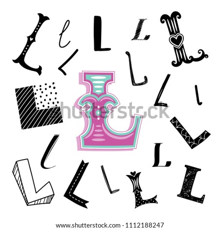 Set Of Letter L In Different Style Freehand Drawing On A White Background