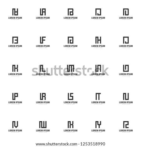 Set of letter logo template. Minimal letter logo template design Foto stock ©