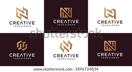 Set of letter N logo collection with golden concept Premium Vector Stock fotó ©