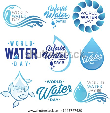Set of letter world water day vector background for element design on the white background. Collection of letter world water day design template in flat style. Vector illustration EPS.8 EPS.10