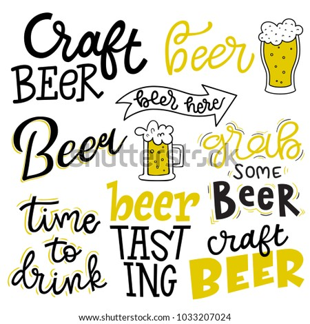 set of lettering quotes  beer