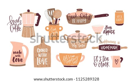 Set of lettering written with cursive font and decorated with cookware, kitchen utensils for home cooking and tools for food preparation isolated on white background. Colorful vector illustration.