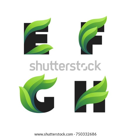 set of letters icons with green