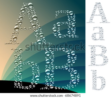 Set of letters in the form of drops. Sensitive to the background. 2 variants of light and dark