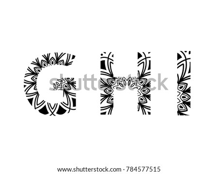 Set Of Letters Mandala Pattern In Font G H I