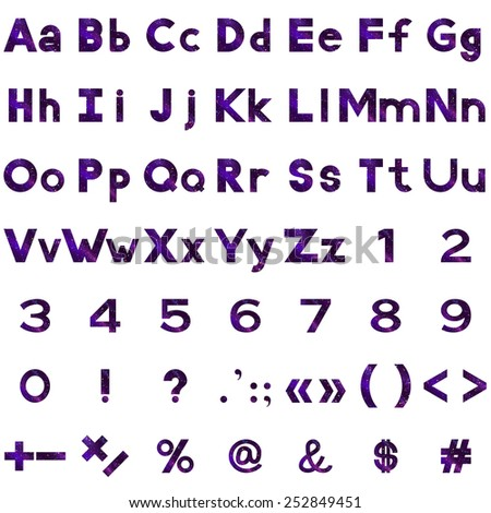 set of letters  numbers