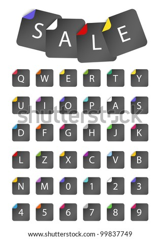 Set of letters on paper stickers