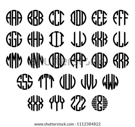 Set of letters to create circle monogram. Monogram alphabet. Vector illustration.
