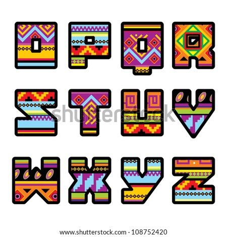 set of letters with the design of a Mexican style part 2