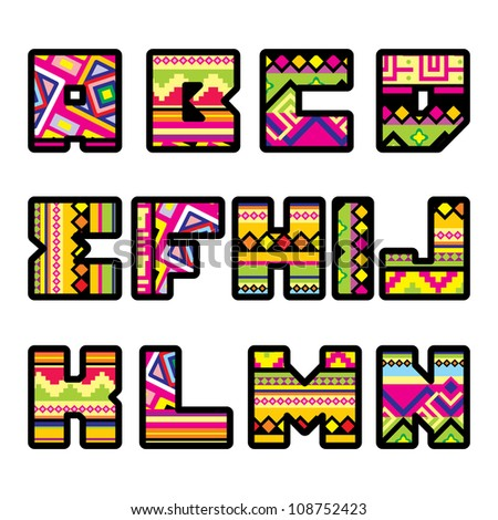 set of letters with the design of a Mexican style part 1