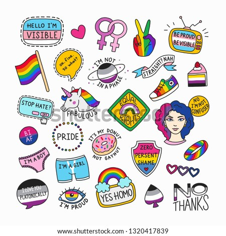 Set of LGBT symbols in cartoon style. Collection of isolated patches and cute badges. LGBT pride concept with motivational phrases. Great for stickers, badges, embroidery.