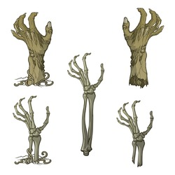 Set of lifelike depicted rotting zombie hands and skeleton hands rising from under the ground and torn apart. Monochrome drawing isolated on white background. EPS10 vector illustration