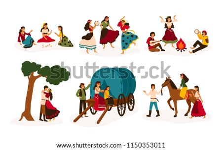 Set of lifestyle scenes with gypsies or Romani people performing various activities - riding horse, playing guitar and dancing, sitting on traditional wagon, telling future. Flat vector illustration Stock photo ©
