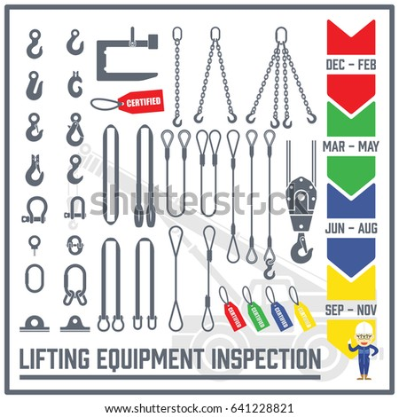 Set of Lifting Gear and Lifting Equipment Icons - Inspection Period