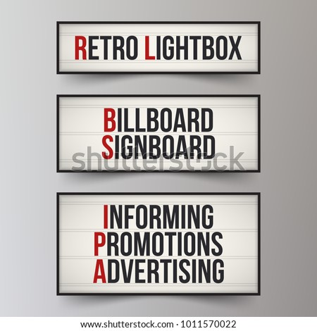 Set of light boxes. Lightbox with customizable design. Classic banner for your projects or advertising. Light banner, vintage billboard or bright signboard. Cinema or theater light box frame for ads.