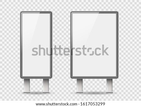 Set of Light boxes template. Outdoor 3d Retail lighting billboards. Advertising promotion, signboard and announcement lightbox screen.