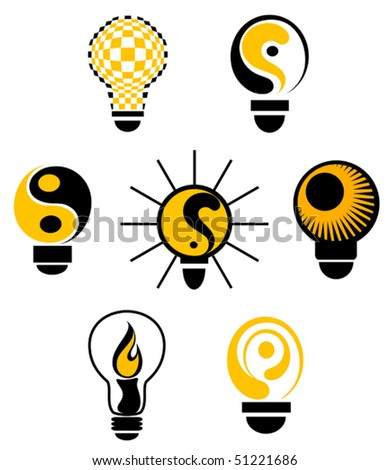 Set of light bulb symbols for design or logo template. Jpeg version also available in gallery
