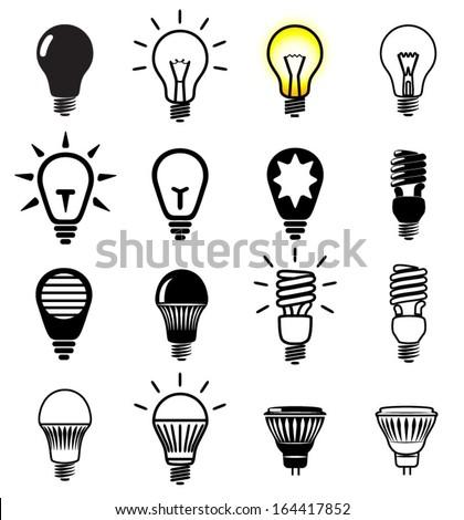 Set of light bulbs icons. Vector illustration.