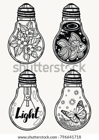 set of light bulbs isolated