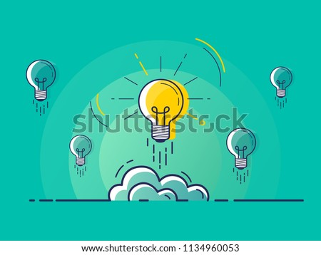 Set of light bulbs rocket launch with one glowing. Trendy flat vector light bulb icons with concept of idea on green background.