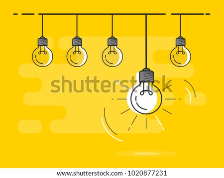 Set of light bulbs socket at the top with one glowing. Trendy flat vector light bulb icons with concept of idea on yellow background.