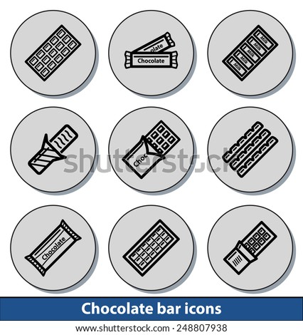 set of light chocolate bar