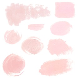 Set of light pink pastel acrylic brush strokes, delicate vector textures for logo, decoration, wedding invitation