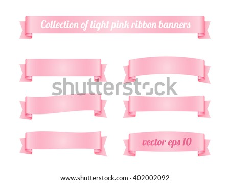 Set of light pink ribbon banners. Vector illustration.