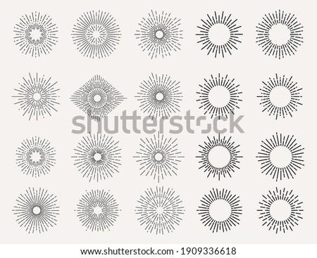 Set of light rays, sunburst and rays of sun. Design elements, linear drawing, vintage hipster style. Light rays sunburst, Vector icon Illustration