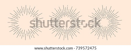 Set of light rays, sunburst and rays of sun. Design elements, linear drawing, vintage hipster style. Set light rays sunburst different size and saturation on light backround. Vector Illustration