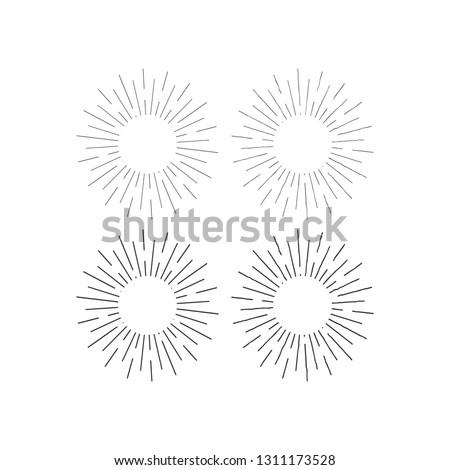 Set of light rays, sunburst and rays of sun.  vintage hipster style. Light rays sunburst, arrow, ribbon Vector Illustration