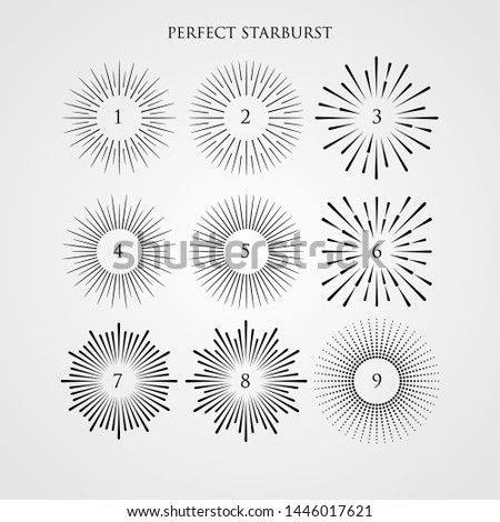 Set of light rays, sunburst and rays of sun. vintage hipster style. Light rays sunburst, arrow, ribbon Vector Illustration