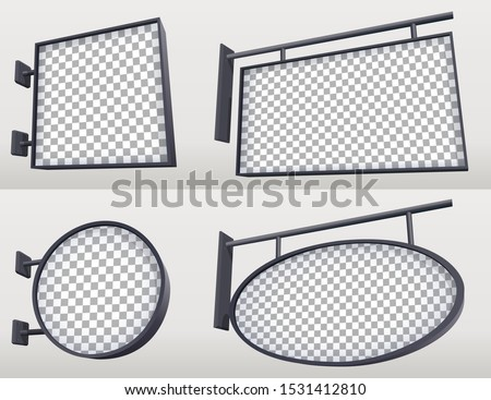 Set of lightboxes for outdoor advertise. Circle and square sign mockup for cafe, restaurant. 3D realistic blank hanging signs. Eps10 vector