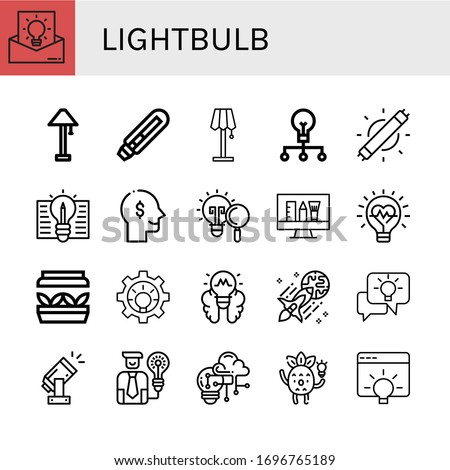Set of lightbulb icons. Such as Idea, Lamp, Light bulb, Creative, Led light, Thinking, Innovation, Artificial light, Lightbulb, Creativity , lightbulb icons