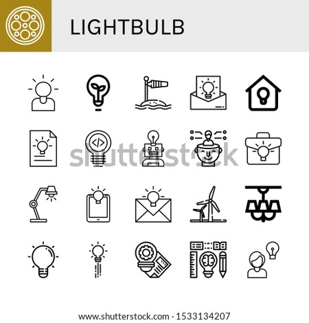 Set of lightbulb icons. Such as Surgery lamp, Brainstorming, Light bulb, Wind socket, Idea, Lighting, Thinking, Lamp, Wind energy, Lightbulb, Creativity , lightbulb icons