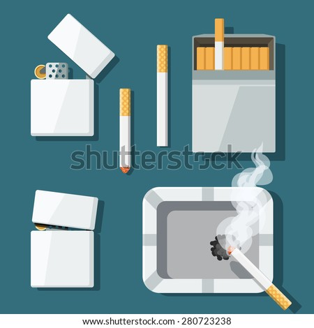 set of lighters  cigarettes and